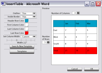 David farkas design ixd microsoft word table interface for Table design ms word